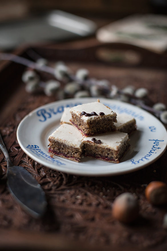 Mazurek - Polish traditional Easter cake with hazelnuts and raspberry preserve